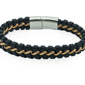 Chinook Mens Black and Gold Bracelet